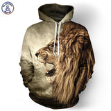 Autumn Winter Lion Ancient Digital Printing Men/Women Hooded Hoodies Cap Windbreaker-iuly.com