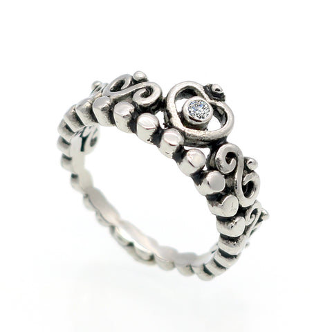 Crystal Rhinestone Crown Ring Women Cute Elegant 316L Titanium Steel Cubic-iuly.com