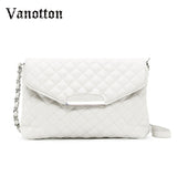 Chain Bag Messenger Womens Handbag Formal Plaid Leather Shoulder Bag Clutches-iuly.com
