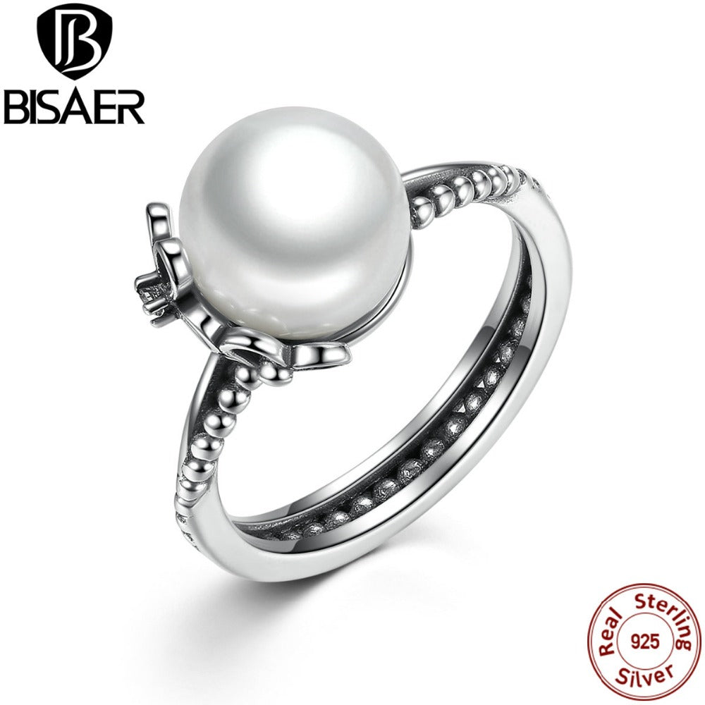 925 Sterling Silver Rings With Simulated Pearl Women Finger Ring Female-iuly.com