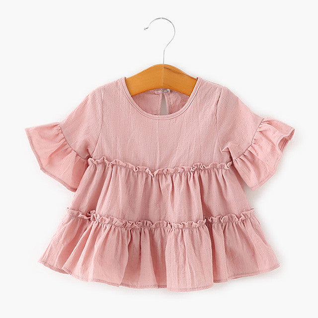 Baby Girl Lotus Leaf Sleeves Shirt Skirt Toddler Pink White Color A-Line Baby-iuly.com