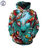 Autumn Winter Thin Cap Sweatshirts 3D Print Wolf Men/Women Hooded Hoodies Casual-iuly.com