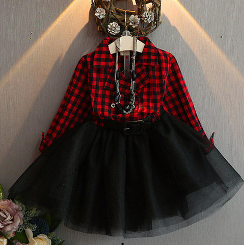 Fashion Girls Tutu Dresses Children'S Clothing Sweet Baby Girls Plaid Dress-iuly.com