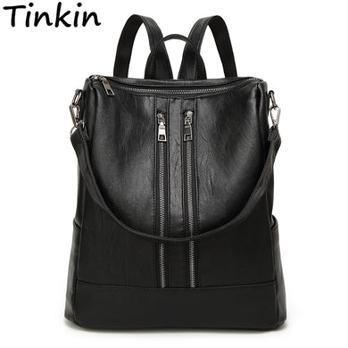 Spring Women Backpack Simple Casual School Bag Medium Size Leather Backpack-iuly.com