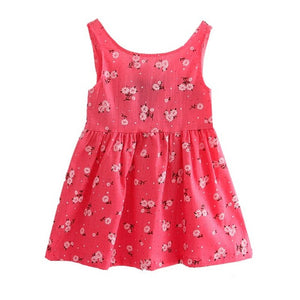 Baby Girl Dress Summer Kids Teenagers Sleeveless Print Pattern Cotton Dresses-iuly.com