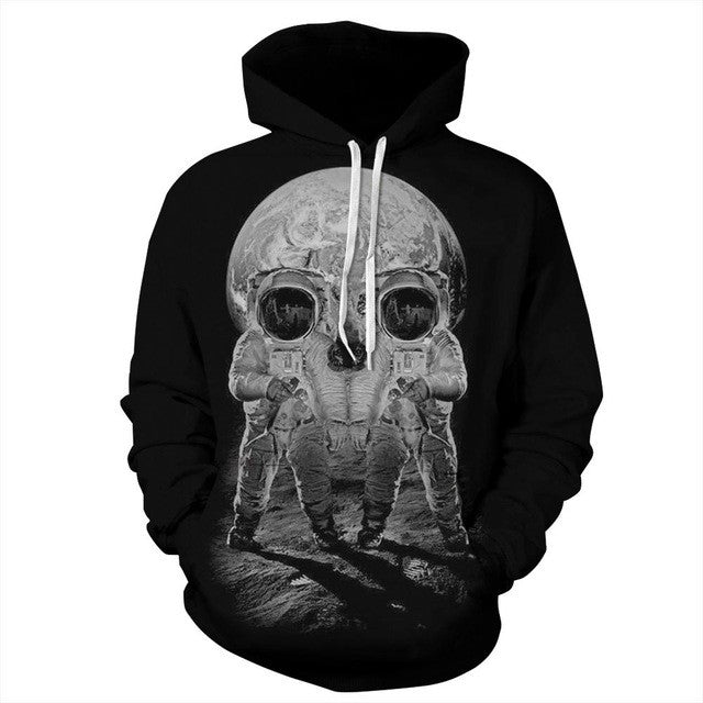 Autumn Winter Men/Women Hoodies With Cap Print Astronaut Skull Couple Hooded-iuly.com