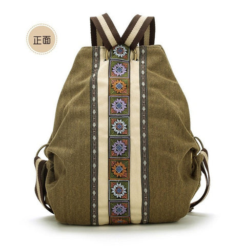 Canvas National Tribal Ethnic Embroidered Floral Backpacks Women'S Travel-iuly.com