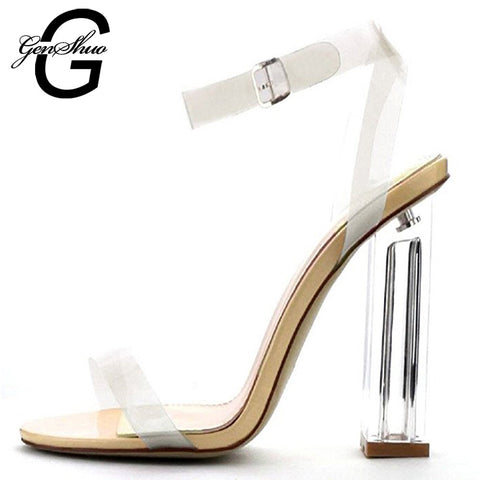 Style Pvc Summer Sandals Sexy Clear Shoes Transparent Buckle Strap High Heel-iuly.com