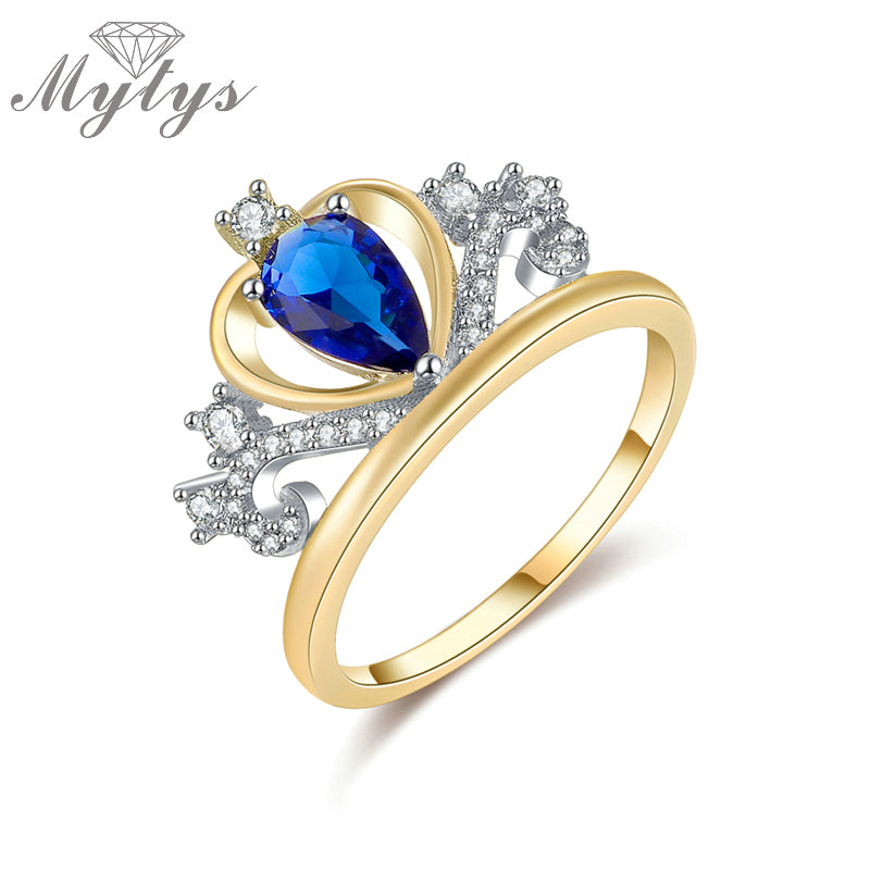 Blue Crystal Heart Shape Tiara Crown Ring Gp Princess Royal Party Jewelry-iuly.com