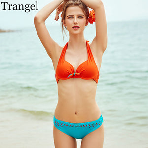 Halter Bikinis Women Swimwear Solid Women Bikini Set Push Up Swimsuits Summer-iuly.com