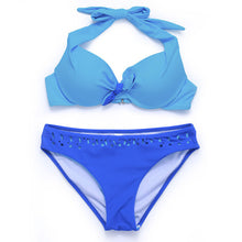 Load image into Gallery viewer, Halter Bikinis Women Swimwear Solid Women Bikini Set Push Up Swimsuits Summer-iuly.com