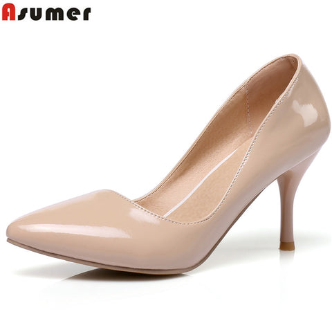 6 Colors Plus Size 34-46 High Heels Women Pumps Thin Heel Classic White Red-iuly.com
