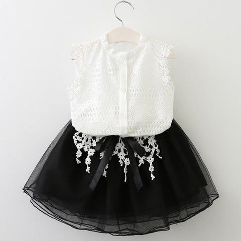 Girls Dress Casual Summer Style Girls Clothes Sleeveless White Lace T-Shirt+Grils-iuly.com