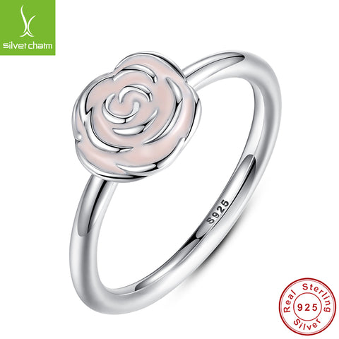 925 Sterling Silver Rose Garden Flower Stackable Engagement Ring With Pink-iuly.com