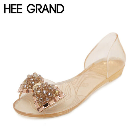 Women Sandals Summer Bling Bowtie Peep Toe Jelly Shoes Woman Crystal Flats Size-iuly.com