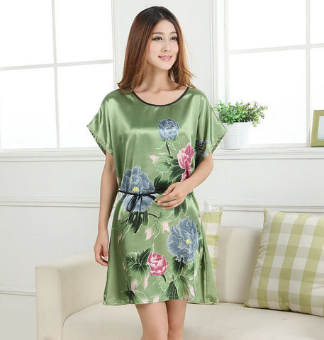 Lady Summer Robe Green Chinese Women Silk Rayon Bath Gown Yukata Night-iuly.com
