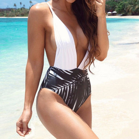 Deep V Neck One Piece Swimsuit Women Bathing Suit Black&White Bandage Cross-iuly.com