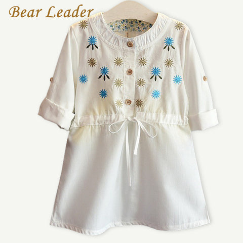 Girls Dress Autumn Casual Style Girls Clothes Foldable 3 Quarter Sleeve Floral-iuly.com