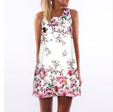 Style Summer Dress Sleeveless Floral Print Casual Women Dress Above Knee Plus-iuly.com