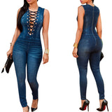 Denim Jumpsuit Women Sexy Rompers Front Tie Up Sleeveless Blue Jean Bodysuit-iuly.com