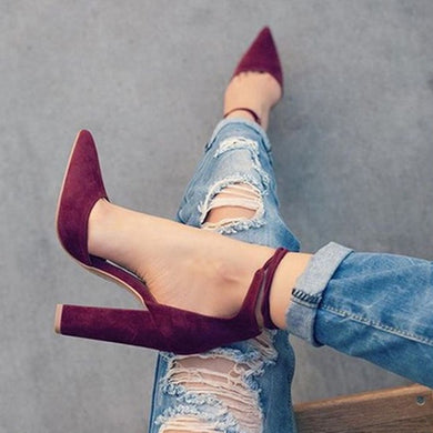 6 Colors Pointed Strappy Pumps Sexy Retro High Thick Heels Shoes 2107 Woman-iuly.com