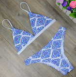 Ladies White Floral Halter Thong Biquini Swimsuit Swim Beach Wear Bathing Suit-iuly.com