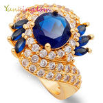 Blue Zircon Rings Women Gold Color Big Ring Female Alp0240-iuly.com