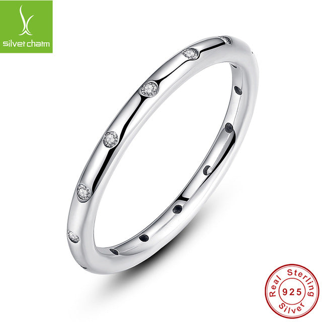 925 Sterling Silver Droplets Stackable Engagement Rings With Clear Cz Women-iuly.com