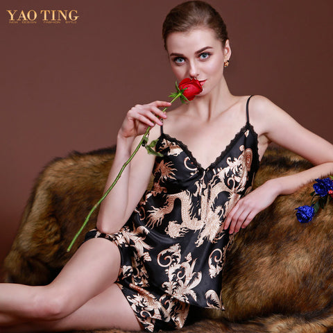 Design Pajamas Women Luxury Dragon Printed Silk Pajamas Sets Summer Pa-iuly.com