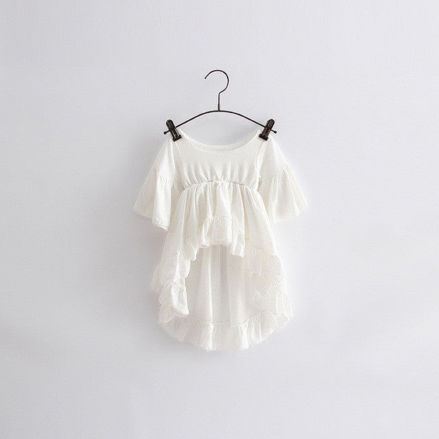 Style! Spring Cotton Girl Casual White Princess Flare Sleeve Dress Cute Fashion-iuly.com