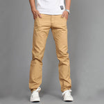 Casual Men Pants Cotton Slim Pant Straight Trousers Fashion Business Solid-iuly.com