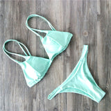 Bandage Bathing Suit Women Solid Bikini Set Low Waist Swimsuit Swimwear Women-iuly.com