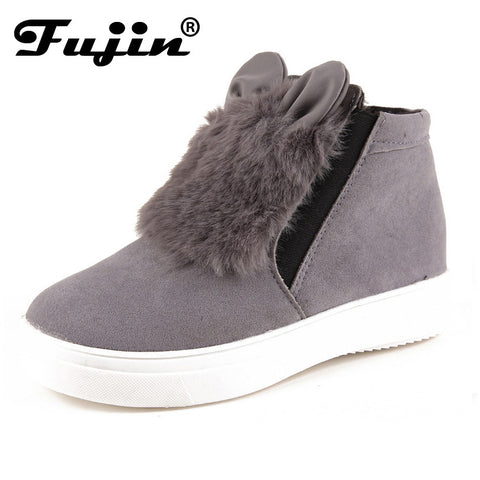 Spring Autumn Fujin Woman Platform With Ears Women Winter Shoes Boots Plush-iuly.com