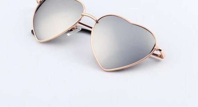 Heart Shaped Sunglasses Women Metal Reflective Lenes Sun Glasses Men Mirror-iuly.com