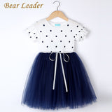 Girls Dress Summer Fashion Style Princess Dress Flare Short Sleeve Dot Bow Mesh-iuly.com