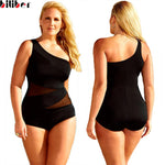4Xl Plus Size Swimwear Black Mesh Monokini Bikini One Piece Swimsuit M-iuly.com