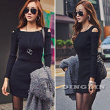 Spring Women Knitted Dress Long Sleeve Square Collar Bodycon Stretch Casual-iuly.com