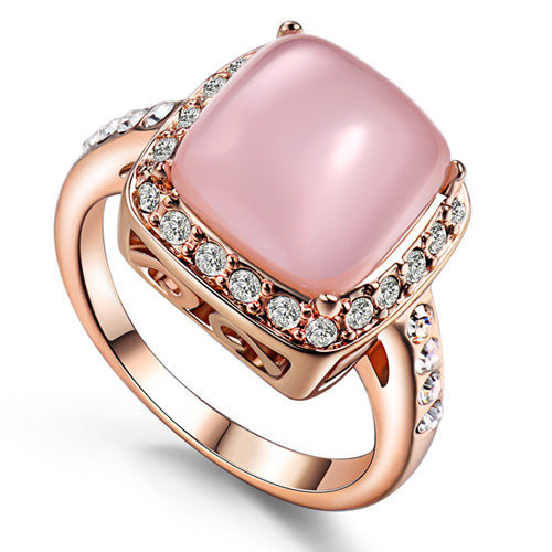 Accessories Quartz Pink Stone Finger Ring Zirconium Female Lover Party-iuly.com