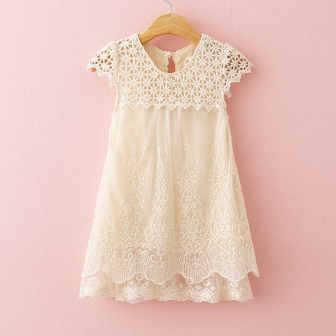 Girls Dress Summer Children Fashion Lace Princess Dress Kids Party O-Neck Dresses-iuly.com