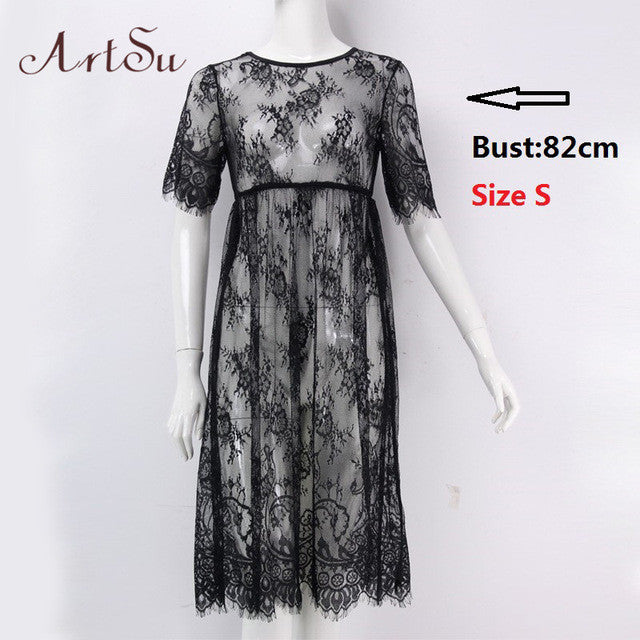 Women Midi Dresses Casual Long Black Short Sleeve O Neck Beach Wear Lace Sexy-iuly.com