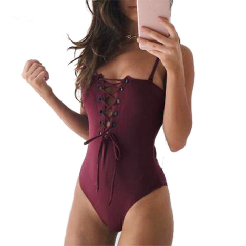 Bikinis Women One-Piece Push Up Bandage Swimsuit Plus Size Bikini Hollow Swimwear-iuly.com