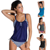 Belly Tankini Swimsuit Women Bathing Suits Plus Size Two Piece Bikini Set Swimwear-iuly.com