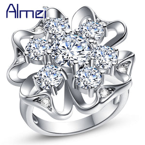 Big Women'S Silver Color Rings Female Jewelry With White Crystal Stone-iuly.com