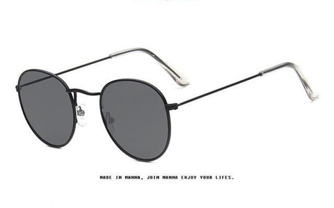 Circular Frame Sunglasses Women Coating Bright Reflective Mirror Round Glas-iuly.com