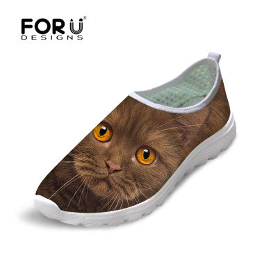 Forudesigns Casual Women Shoes Animal Cat Owl Print Mesh Shoes Breathable Shoes-iuly.com