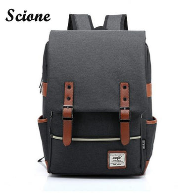 Women/Men Daily Canvas Backpacks Large Capacity Computer Backpack For Laptop-iuly.com