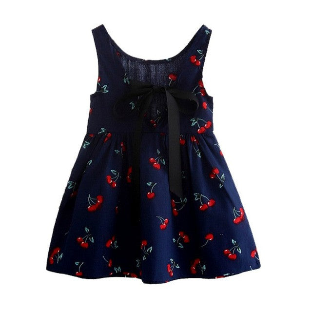 Children Kids Girl Summer Dress Kids Teens Sleeves Printing Pattern Cotton Dresses-iuly.com