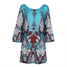 Load image into Gallery viewer, Bohemian Elegant Women Summer Dress Boho Off Shoulder Beach Tunic Dresses Sundress-iuly.com