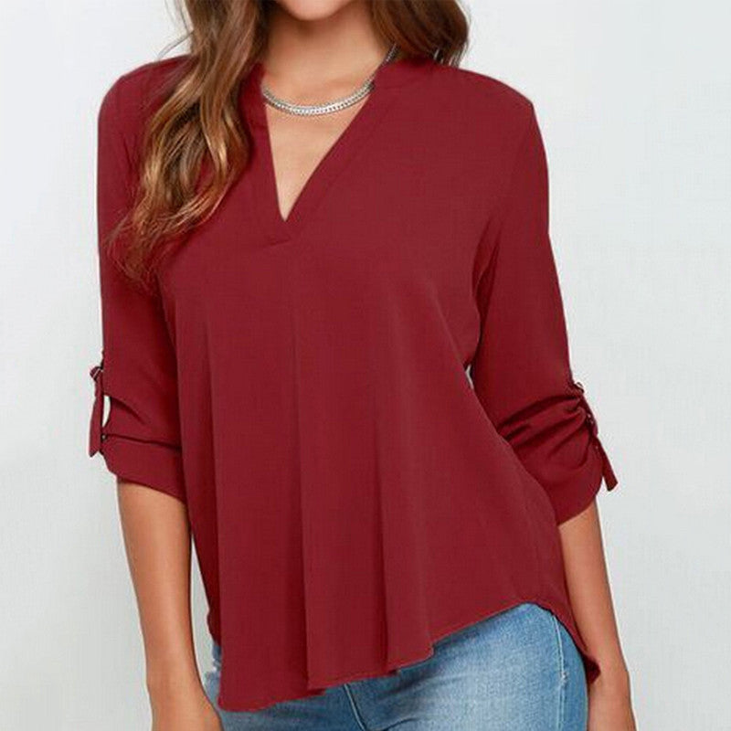 Big Size Blusas Women Chiffon Ruffles Blouses Deep V-Neck White Red Lo-iuly.com