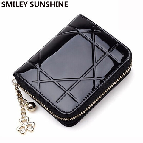 Patent Leather Womens Wallets Female Small Wallets Mini Zipper Wallet For-iuly.com